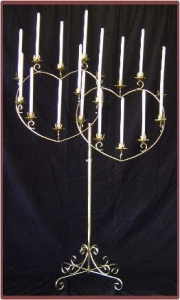 Candelabra double heart 18 light Nickel