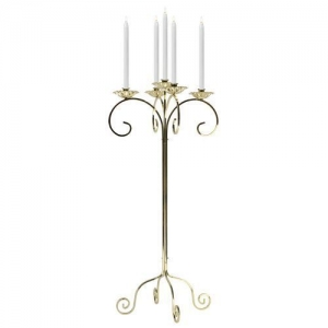 Candelabra tabletop 5 light brass