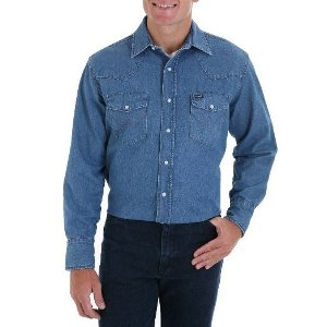 701 Cowboy Cut® Work Western Rigid/Stonewash Denim Long Sleeve Shirt