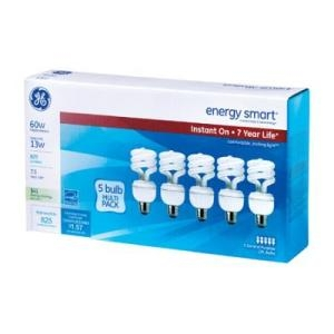 5 pack Compact Fluorescent Bulbs