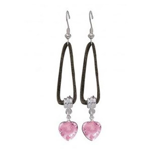 Pink Heart Stones with Brown Suede Earrings