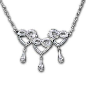 Silver Ribbon Heart Necklace