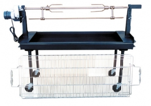 Big John Charcoal Grill, 5' with Rotisserie