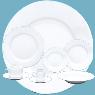 WHITE RIM UNDECORATED DINNERWARE