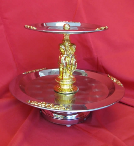 Stainless Two Tiered Tray Gold or Silver trim