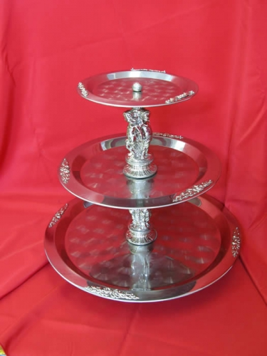 Stainless Three Tiered Tray Gold or Silver trim