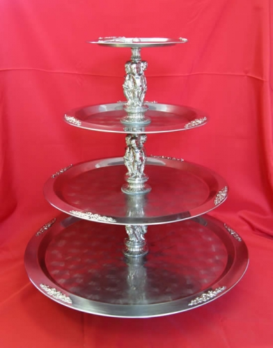 Stainles Four Tiered Tray Gold or Silver trim