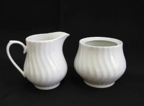 White Sugar Bowl 6 1/2 oz. and Creamer 7 oz.