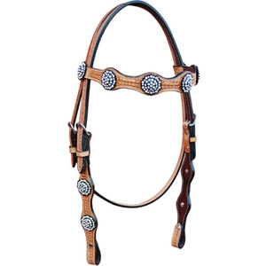 Bar H Equine Basket Scallops Browband Horse Headstall
