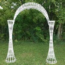 White Wicker Arch with Plant Stands