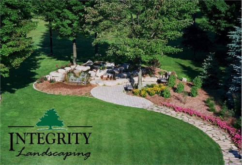 Natural Stone Path, Paver Patio & Waterfall with Shrubs & Annuals