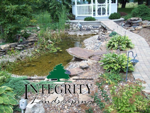 Pond with Raised Paver Bridge