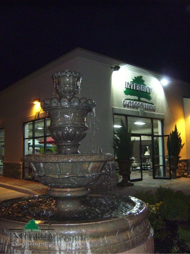 A Cast Stone Fountain in Front of our Evansville Retail Store