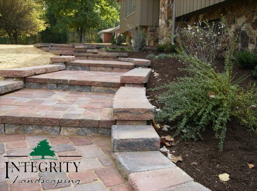Curved Paver Sidewalk with Steps