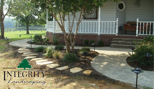 Paver Sidewalks & a Natural Stone Path