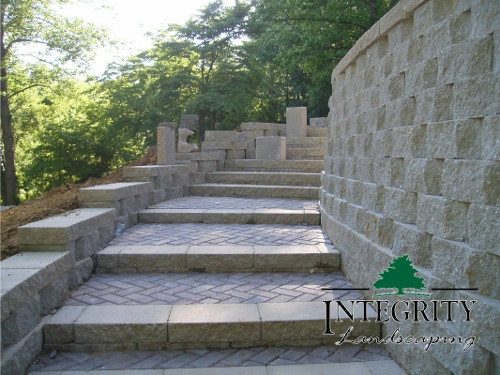 Steps with a Retaining Wall