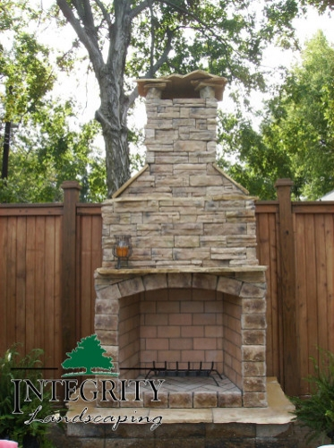Upright Natural Stone Fireplace