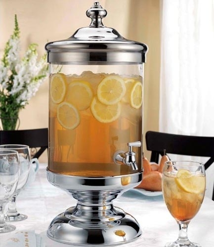 2-1/2 Gallon Glass & Chrome Beverage Dispenser