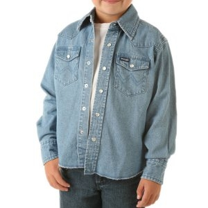 Boys Western Long Sleeve Solid Snap Shirt