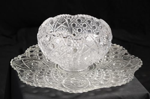 Tray, Punch Bowl, Crystal Cut