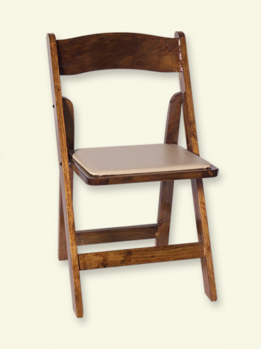 Wooden Chair Fruitwood w/ Tan Padded Seat